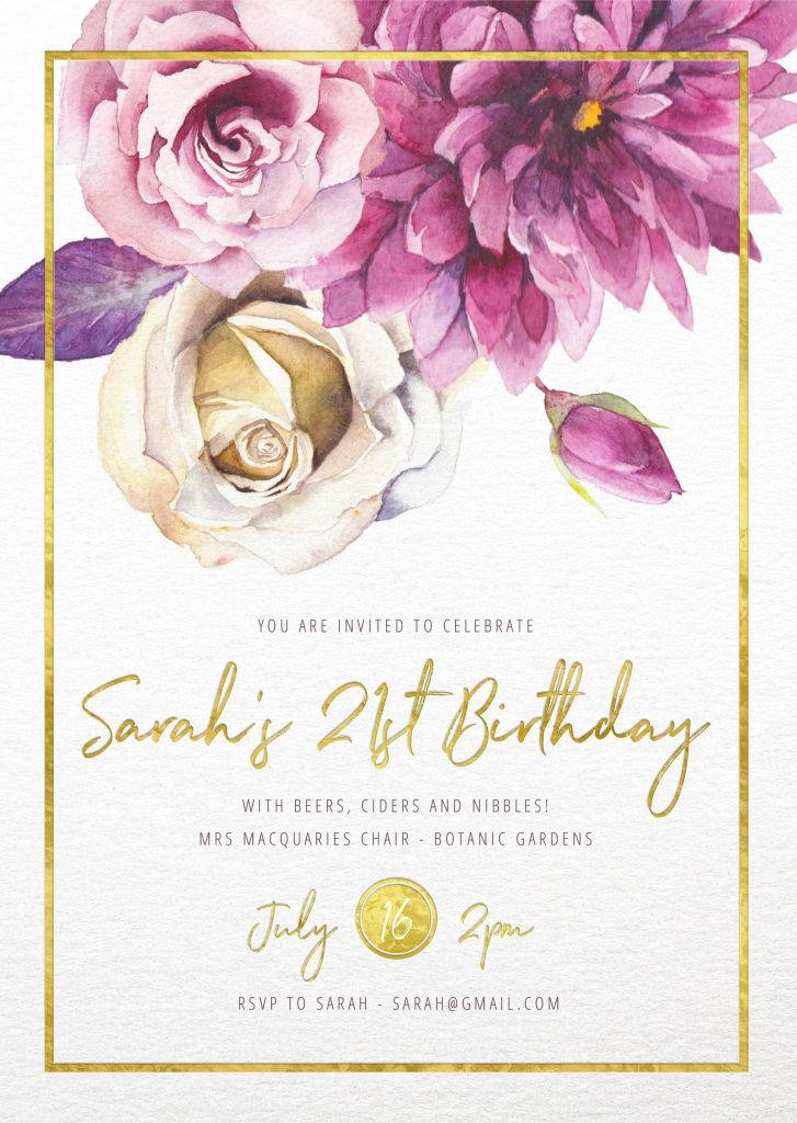 80th Birthday Party Program Template Of Flower Girls Floral Birthday Invitation