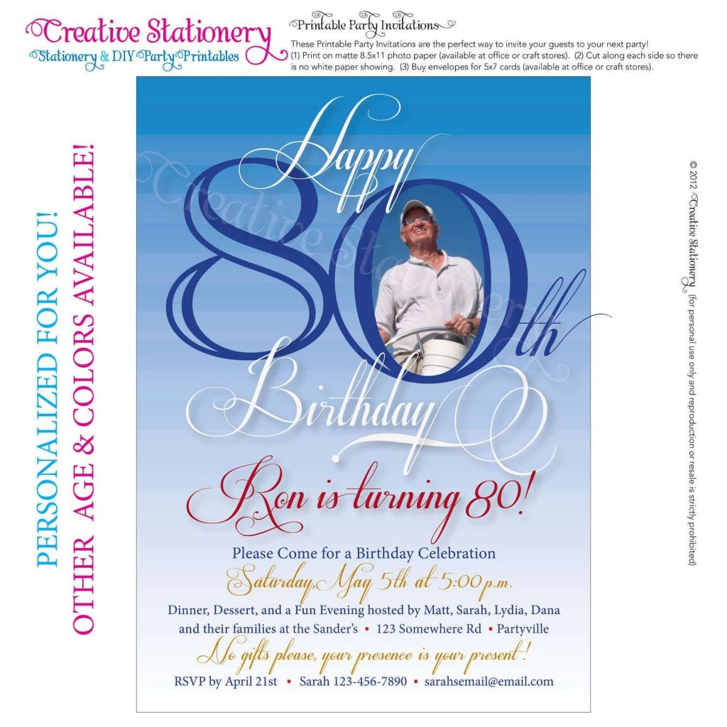 80th Birthday Party Program Template Of Free 80th Birthday Invitations Templates