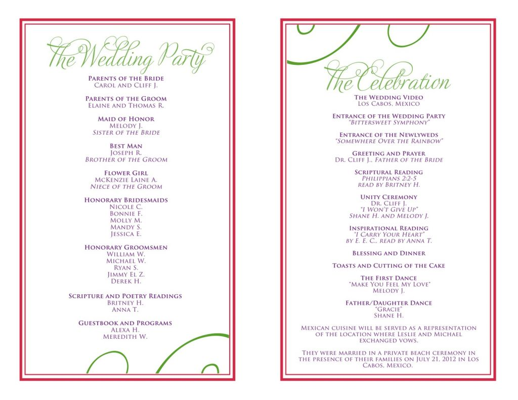 80th Birthday Party Program Template Of Wedding Itinerary Templates Free
