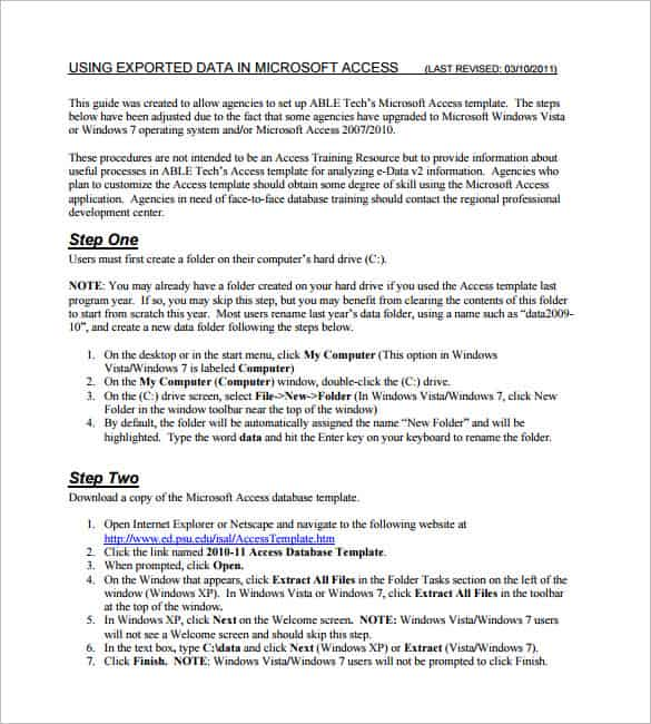 Access 2010 Database Template Sample