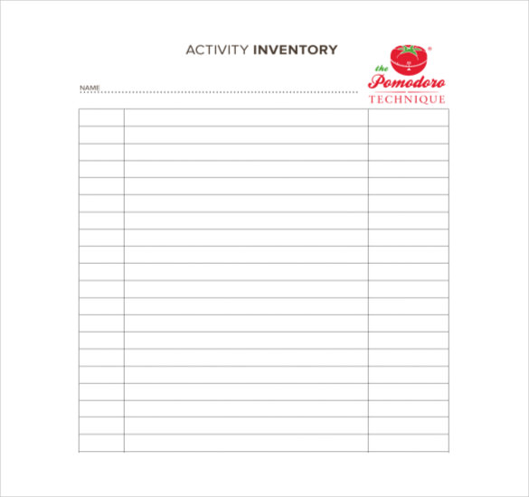 Activity Inventory Free Sample Format Template