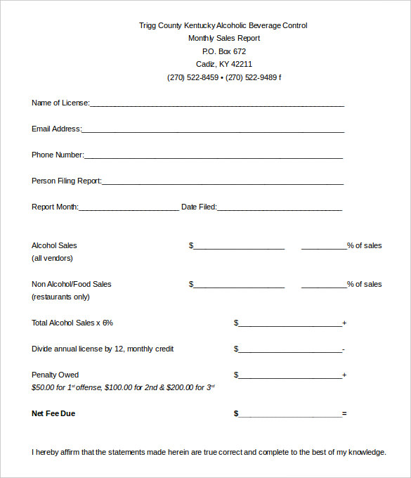 Alcohol Sales Report Template Free Editable