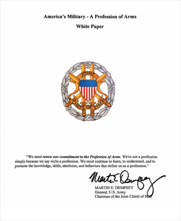 Army Profession White Paper