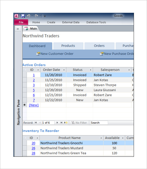 Business Access Database Tracker Template Free Download