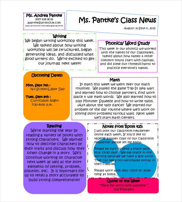 Classroom Newsletter Example Template