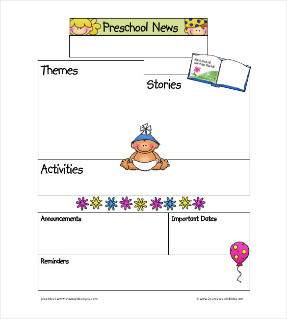 Classroom Newsletter Template For Preschool