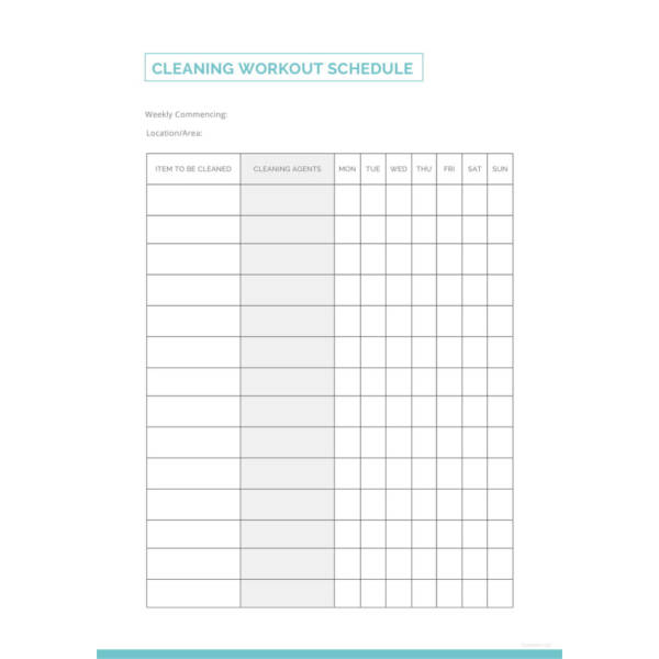 Cleaning Workout Schedule Template