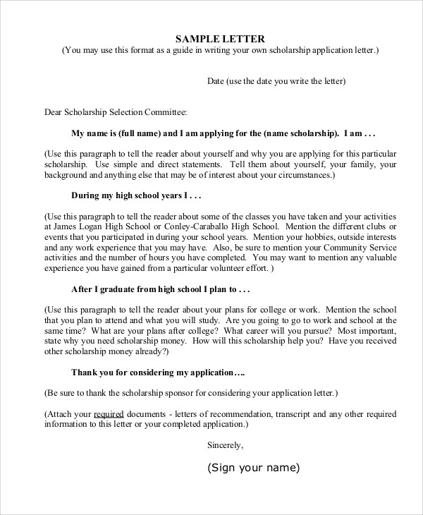 College-Scholarship-Application-Letter-Template Template Cover Letter For Scholarship Letters Outback on