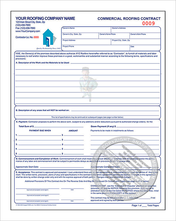 Commercial Roofing Contract Estimate Template