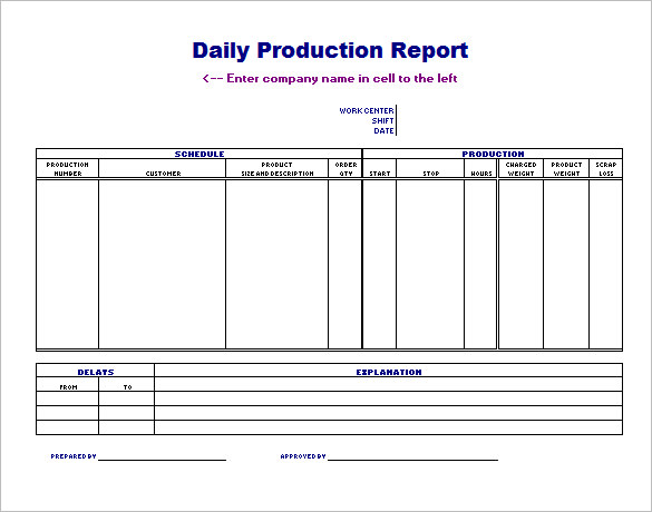 Daily Production Schedule Template