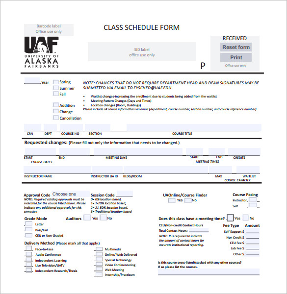 Download Printable Class Schedule Form Template PDF