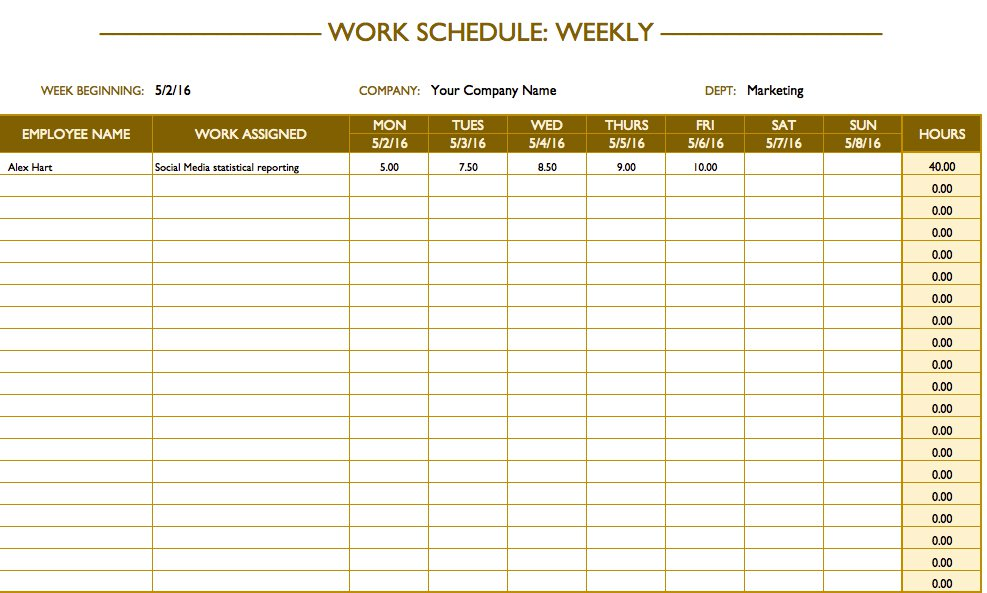 Easy To Edit Blank Schedule Template Free Templates