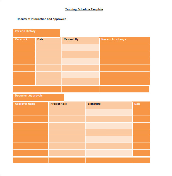 Editable Work Training Schedule Template