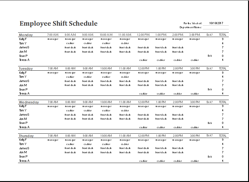 Employee Shift Schedule Word Template