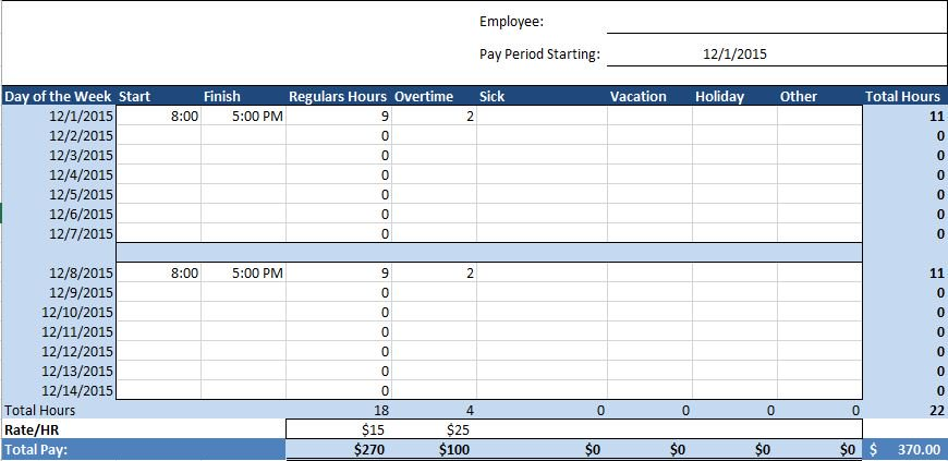Employee Timesheet Excel Template