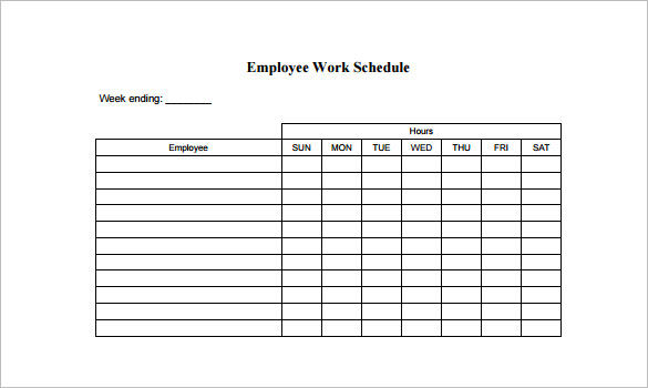 Employee Work Schedule Template Pdf Format Free Templates