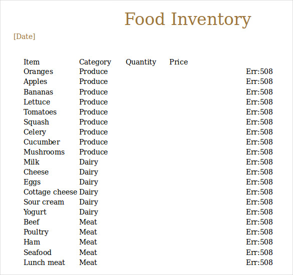 Food Inventory Free Download Excel Sample