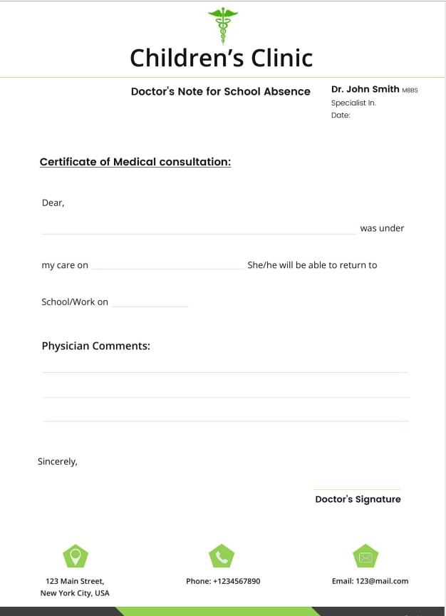 Free Doctor's Note for School Absence Template
