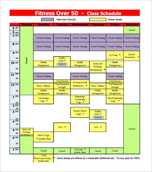 Free Fitness Class Schedule Template PDF Download