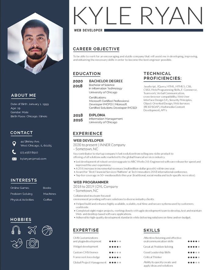 Free Web Developer Resume Template