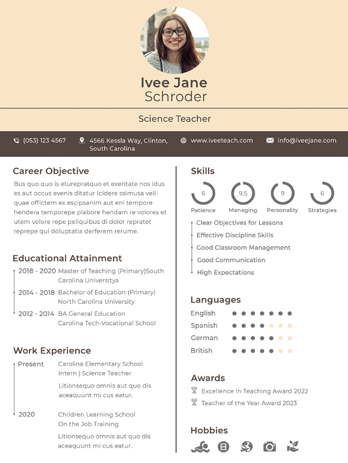 Fresher School Teacher Resume Format Free Templates