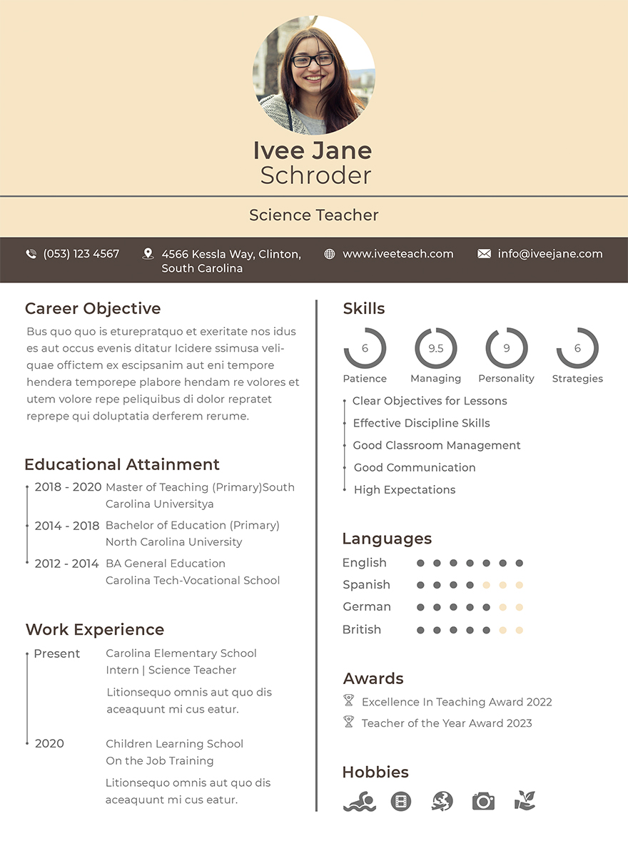 Fresher School Teacher Resume Template Free Templates