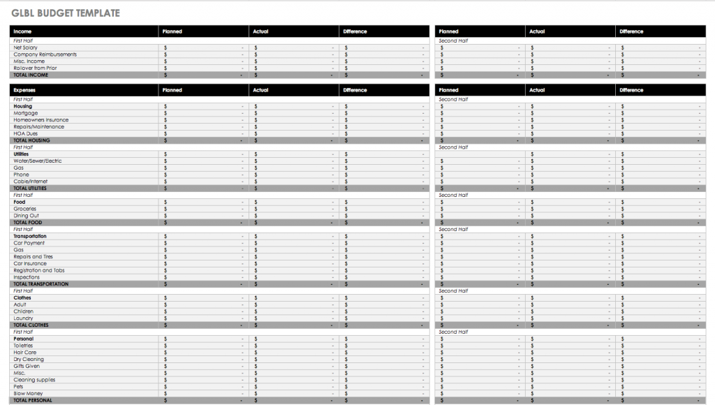 GLBL Budget Spreadsheet Excel Template