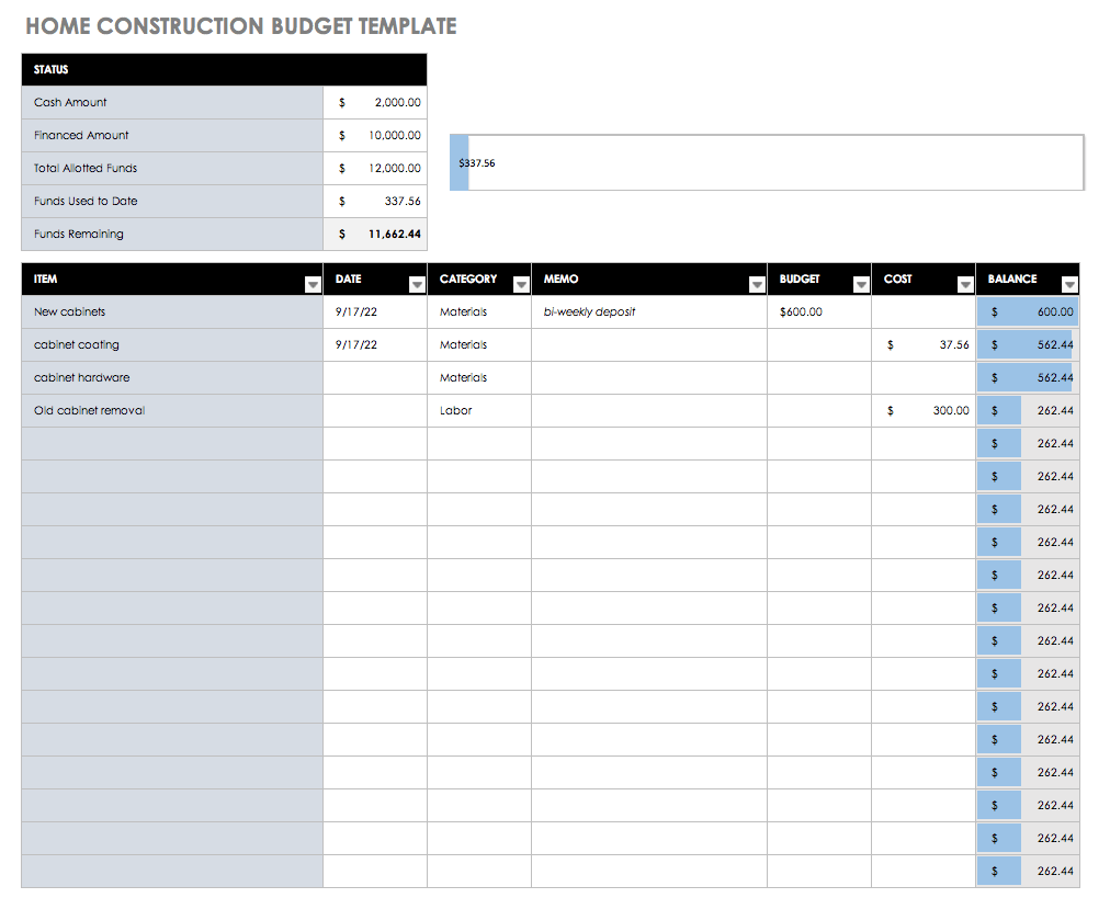 Home Construction Budget Excel Template