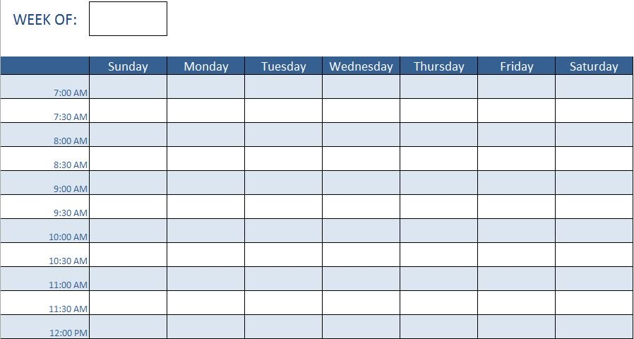 Hourly Work Schedule Excel Template