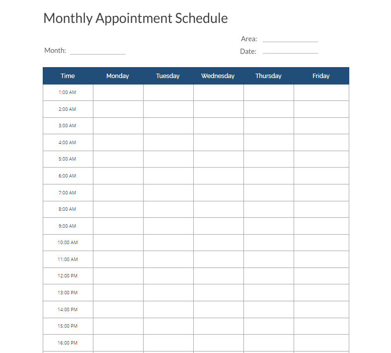 10 appointment schedule templates doc pdf free templates