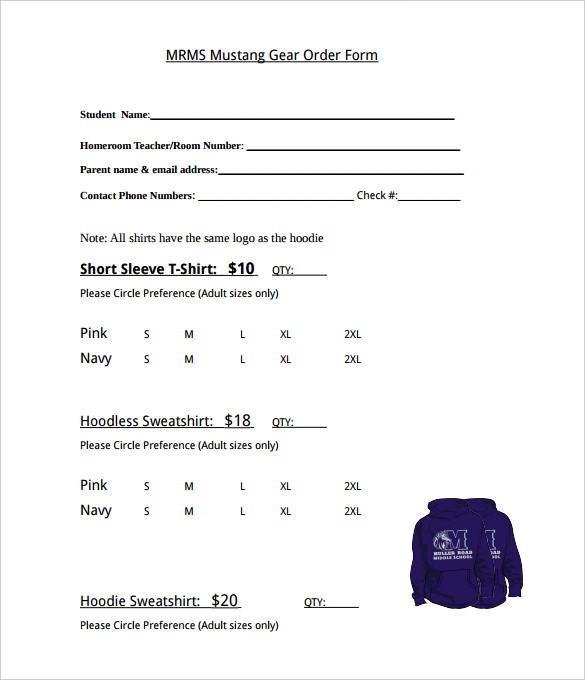 Mustang Gear T-Shirt Order Form Template PDF Format - Free