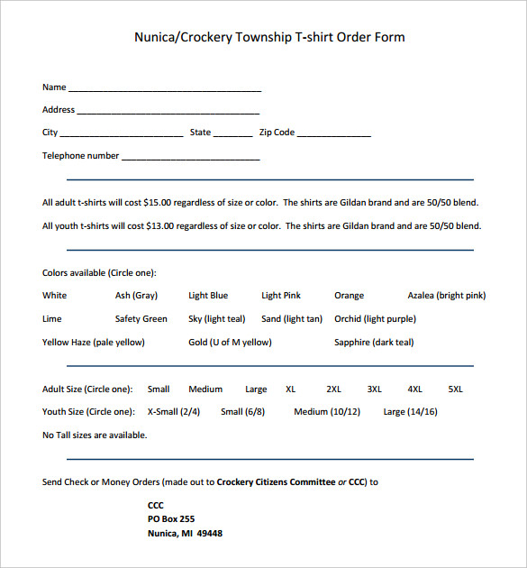 Nunica Crockery Township T-shirt Order Form Free Printable