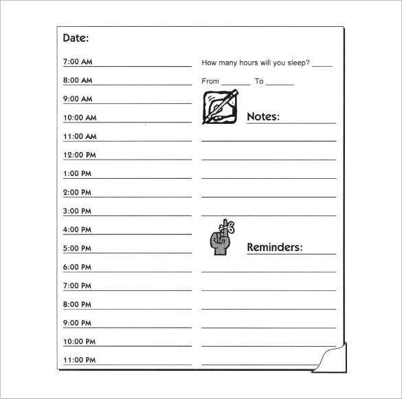 Printable Daily Hourly Schedule Form Download PDF Sample