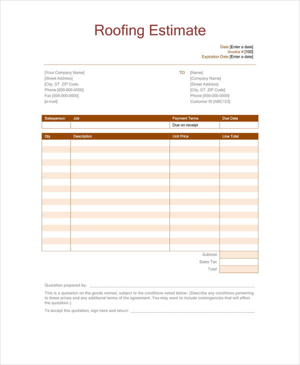 This is a photo of Free Roofing Estimate Forms Printable in rental routine inspection report