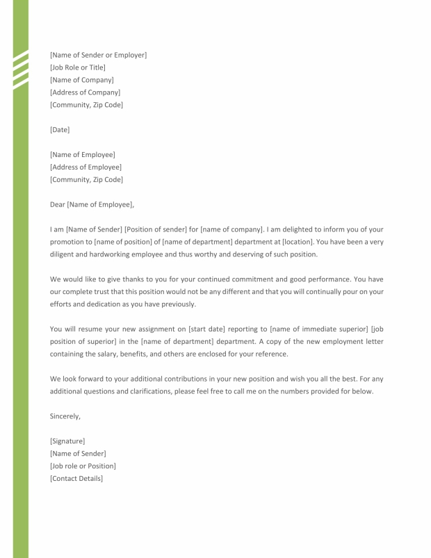Promotion Letter Sample from Employer - Free Templates