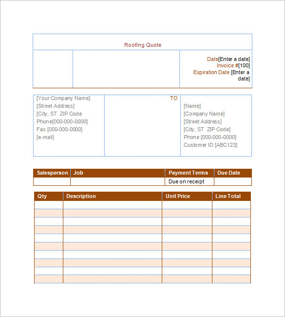 Quote Estimate for Roofing Template in Word