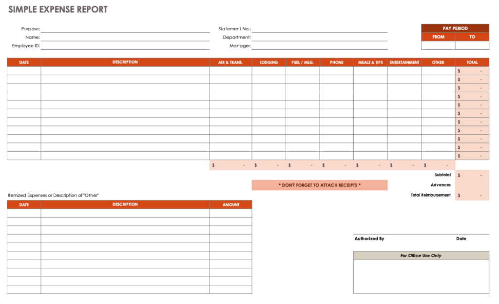 SIMPLE EXPENSE REPORT TEMPLATE FOR EXCEL