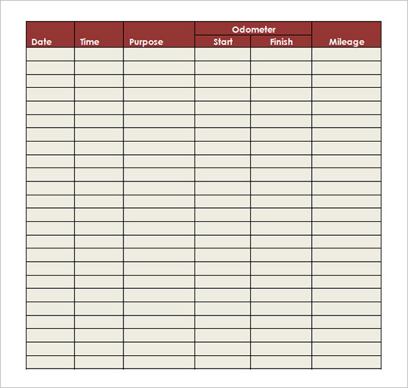 Sample Mileage Log Template