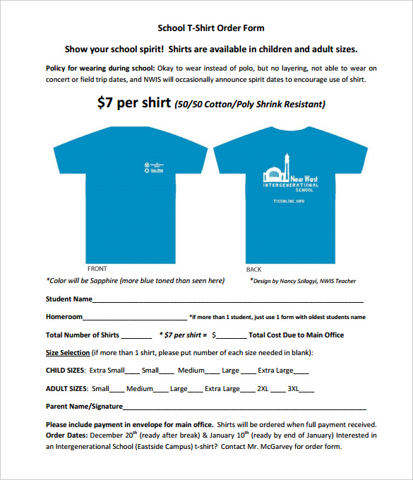 School T-Shirt Order Form Template PDF Free Download