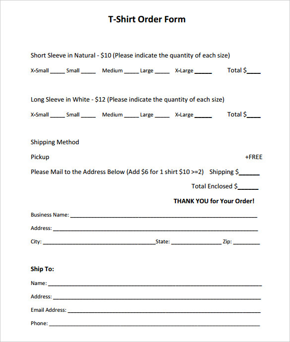 Short Sleeve T Shirt Order Form Template Pdf Printable Free Templates