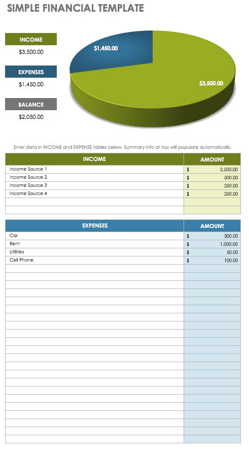 Simple Financial  Excel Template