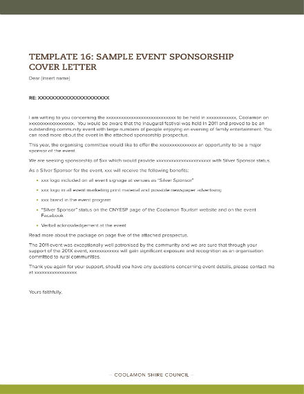 Sponsor Letter Template - Free Templates