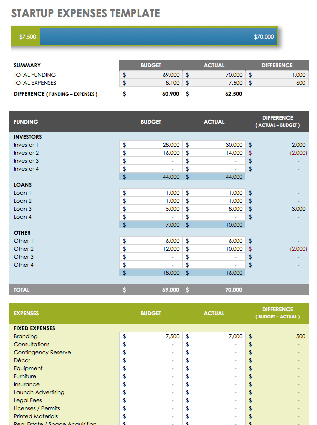 Startup Expenses  Excel Template