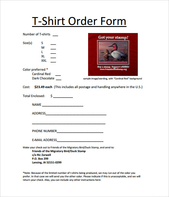T-Shirt Order Form Template in All Sizes PDF Download