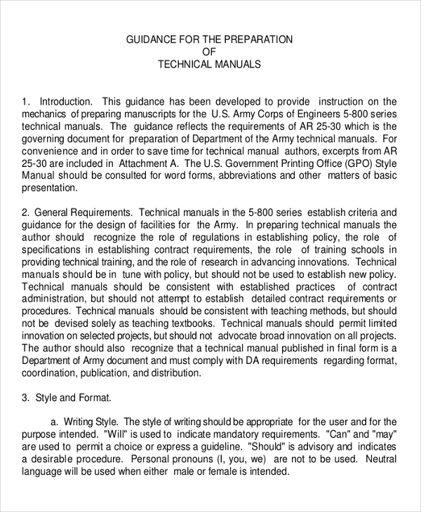 Technical Manual Template Free Templates