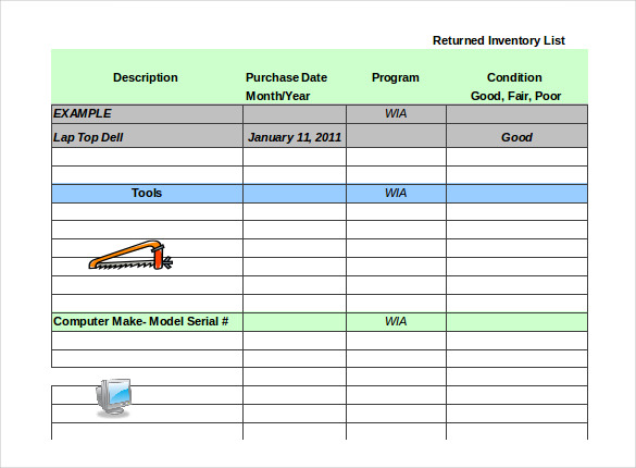 Tool Inventory Sheet