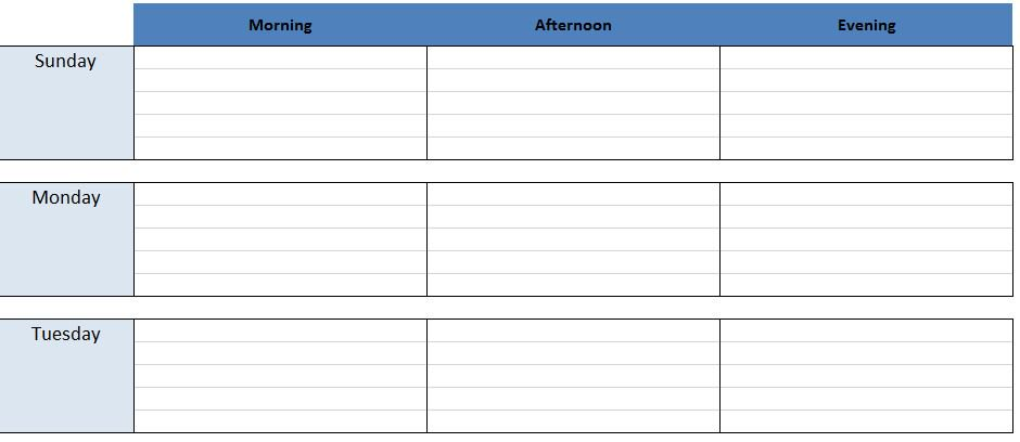 Weekly Work Schedule Excel Template