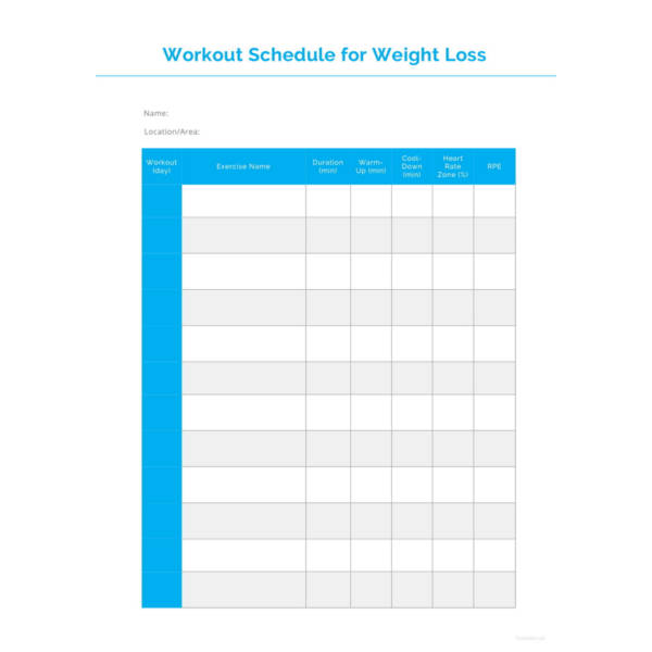Workout Schedule for Weight Loss Template