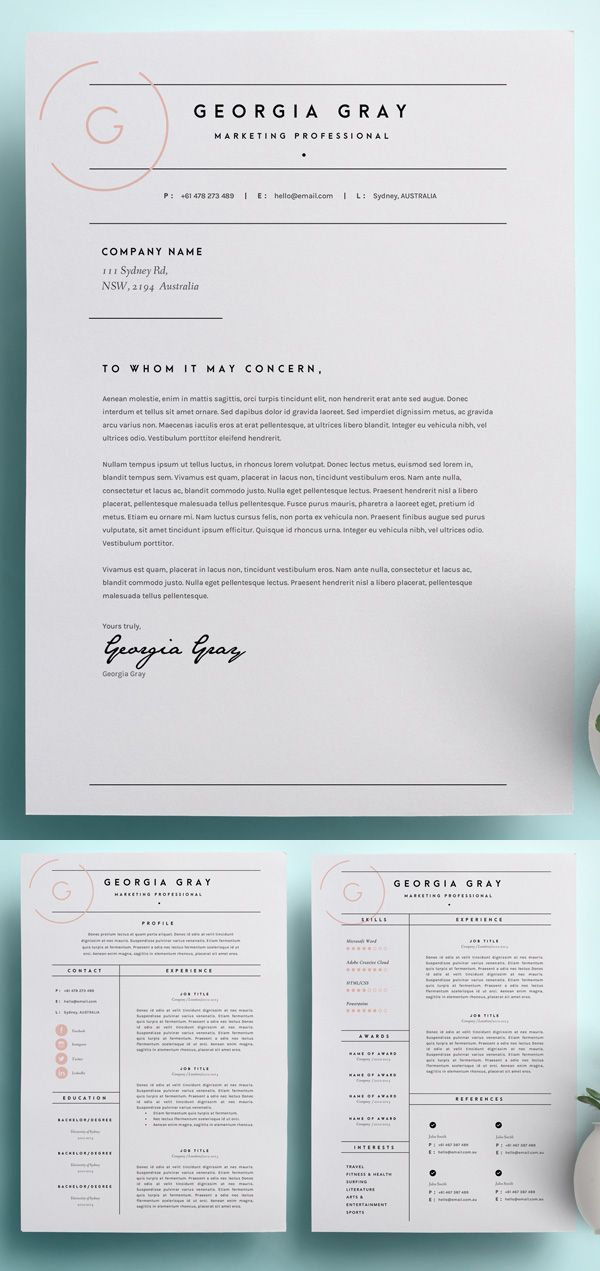 A Cover Letter Should Include Of Resume Template with Cover Letter Cv Template Ms Word Design Instant Digital Download