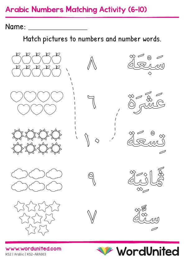Arabic Alphabet Worksheets Activities Of Arabic Numbers Matching Activity 6  10 - Free Templates